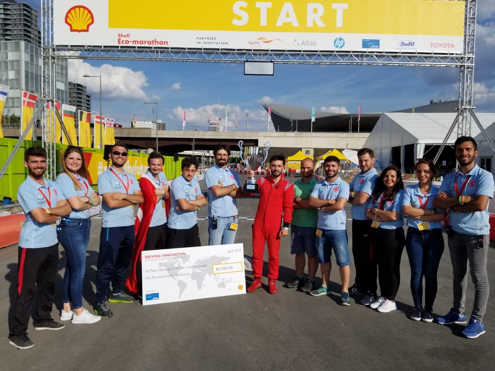 <p>UMAKİT, hidrojen enerjili otomobiller geliştiriyor. Son yıllarda uluslararası düzeydeki yarışlarda da yer alarak Türkiye'yi temsil etmeye başladı.</p>  <p>En uzun mesafede en az enerjiyle yol kat etme temeline dayalı Shell Eco-Marathon Avrupa, Temmuz ayında Londra'da düzenlendi. Türkiye takımı kendi alanında 11 rakibi ile yarışarak Avrupa birinciliğini göğüsleyen ilk Türk takımı olarak tarihe geçti. Yerli hidrojen enerjili aracıyla 1 metreküp hidrojen gazıyla 182.6 kilometre gitme başarısı göstererek en verimli araç olmayı başardı.</p>  <p>Yaklaşık bir yıldır 13 kişilik ekiple yoğun bir tempoda çalışan UMAKİT öğrencileri Barbaros isimli araçları için harcadıkları emeğin karşılığını almış oldu.</p>  <p>UMAKİT, İstanbul'da; Shell Eco-Marathon Türkiye ve Kocaeli'nde düzenlenecek olan TUBİTAK Efficiency Challenge yarışlarında da enerji tasarruflu araçlarıyla katılım gösterecek.</p>